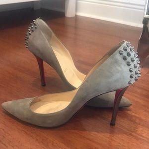 Christian Louboutin Khaki/brown suede heels